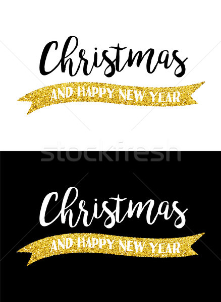 Gold glitter Merry Christmas quote greeting card Stock photo © cienpies