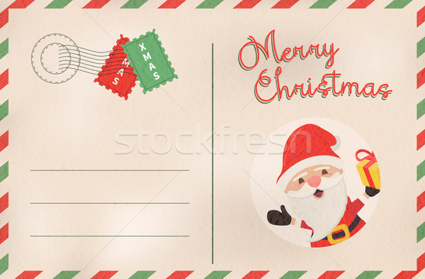 Merry Christmas retro santa claus holiday postcard Stock photo © cienpies