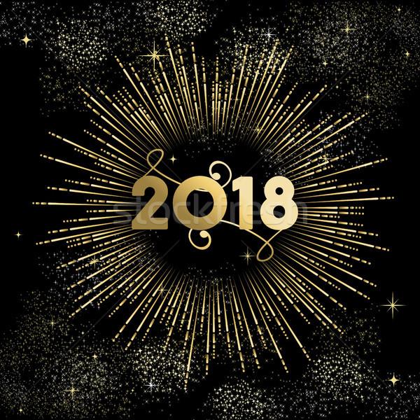 Nowy rok złota nieba karty szczęśliwego nowego roku Zdjęcia stock © cienpies