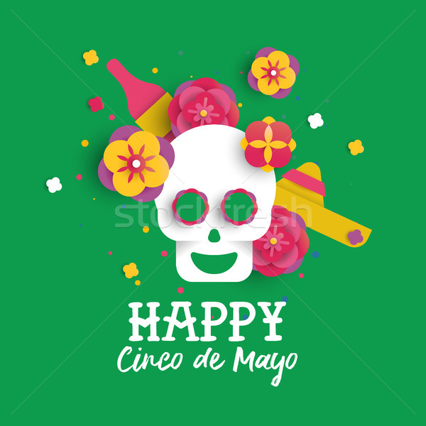Happy Cinco de Mayo paper skull and flower card Stock photo © cienpies
