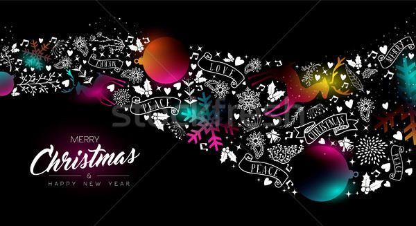 Рождества Новый год свечение градиент украшение веселый Сток-фото © cienpies