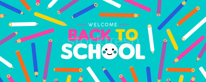 Back to School kid web banner with color pencils Stock photo © cienpies