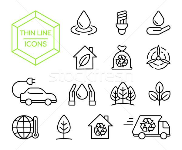 Green energy nature help thin line icon set Stock photo © cienpies