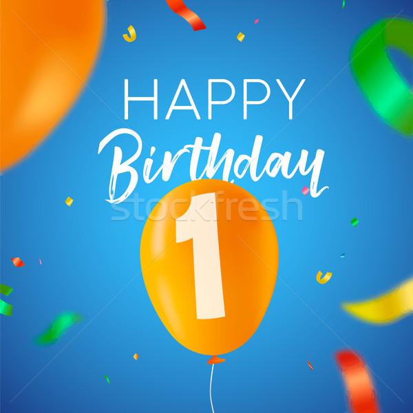 Happy birthday 1 one year balloon party card Stock photo © cienpies