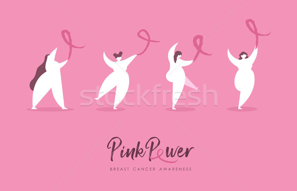 Breast Cancer Awareness girl team with pink ribbon Stock photo © cienpies