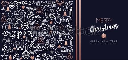 Karácsony új év réz ikon gyűjtemény kártya vidám Stock fotó © cienpies