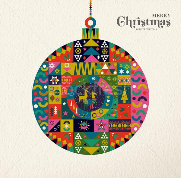 Stock fotó: Karácsony · új · év · retro · művészet · dísz · vidám