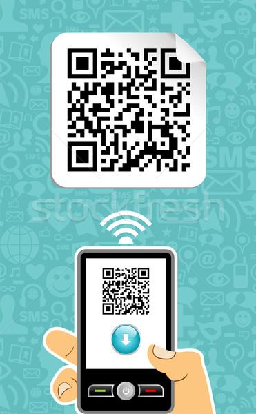 Teléfono móvil código qr mano azul papel signo Foto stock © cienpies