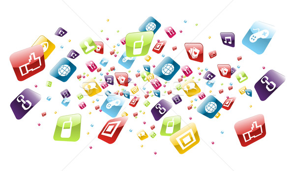 Global mobile phone apps icons splash Stock photo © cienpies