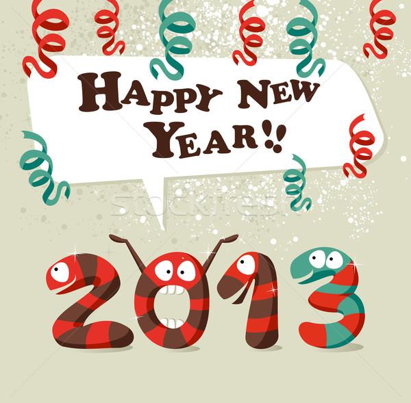 Boldog új évet 2013 vicces rajz kígyó ünnepel Stock fotó © cienpies