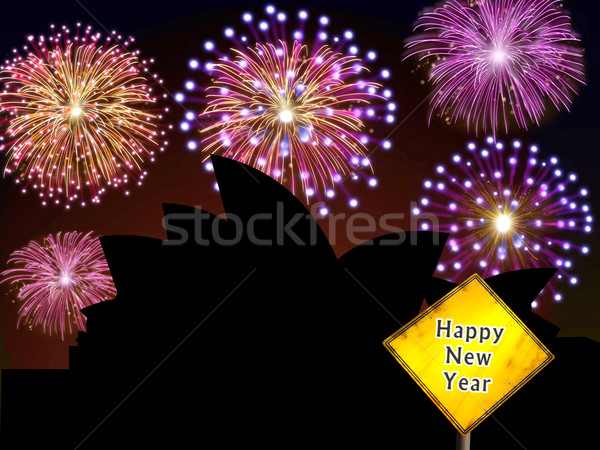 Australia Fireworks Happy New Year Stock photo © cienpies