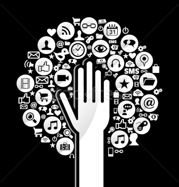 Zdjęcia stock: Globalny · social · media · strony · drzewo · sieci