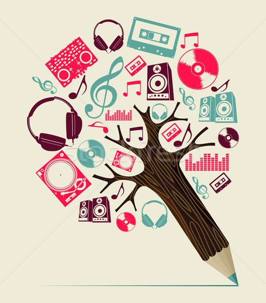 Dj music concept pencil tree Stock photo © cienpies