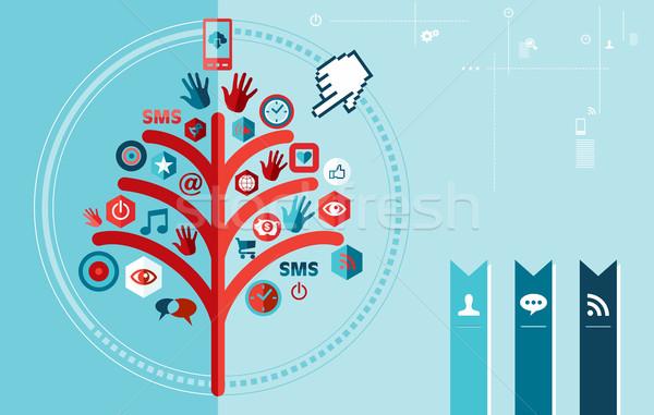 Techno social network albero design banner Foto d'archivio © cienpies