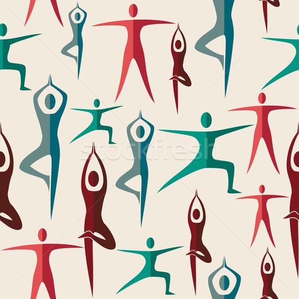 Hindistan yoga insan dizayn vektör Stok fotoğraf © cienpies