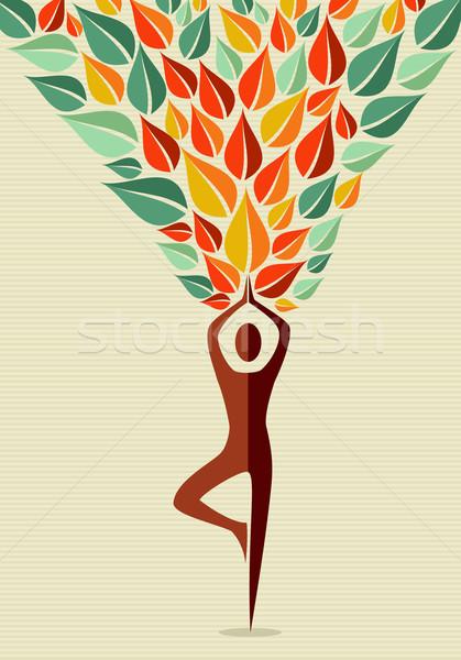 India jóga emberi fa forma testmozgás Stock fotó © cienpies