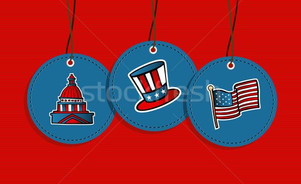 Wiszący patriotyczny odznaki USA ikona banderą Zdjęcia stock © cienpies