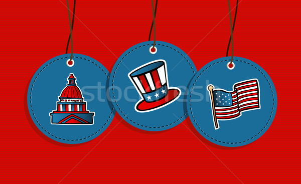 Enforcamento patriótico EUA ícones bandeira Foto stock © cienpies