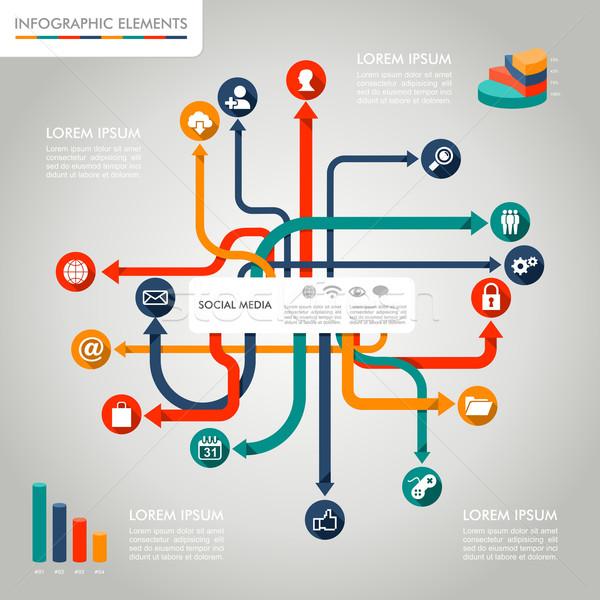 Közösségi média infografika sablon grafikus elemek illusztráció Stock fotó © cienpies