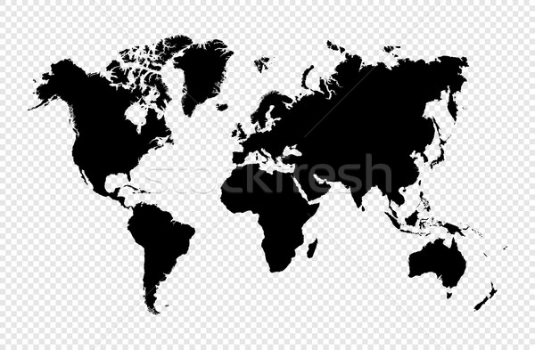 Black silhouette isolated World map EPS10 vector file. Stock photo © cienpies