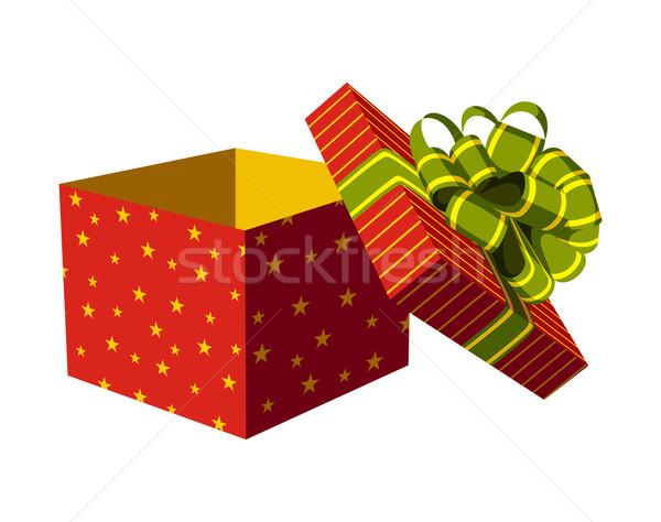 Foto stock: Abrir · caixa · de · presente · vermelho · verde · dourado · fita