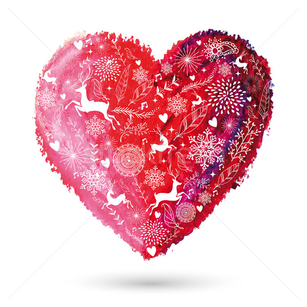 Christmas love heart arty greeting card Stock photo © cienpies
