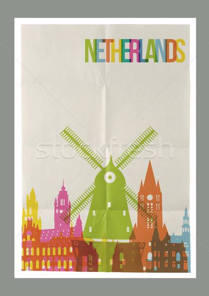 Travel Netherlands landmarks vintage paper poster Stock photo © cienpies