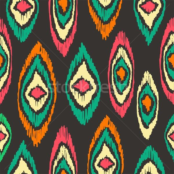 Stock photo: Boho seamless pattern vintage colorful background