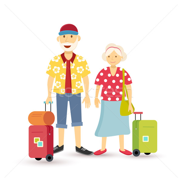 Old couple summer holiday grandparent travel flat Stock photo © cienpies
