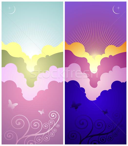 Coucher du soleil sunrise bannières coloré vertical Photo stock © cienpies