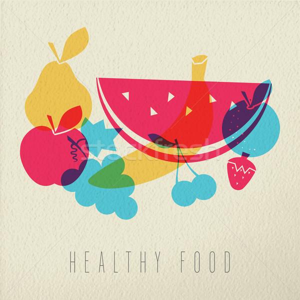 Alimentos saludables dieta frutas icono color diseno Foto stock © cienpies