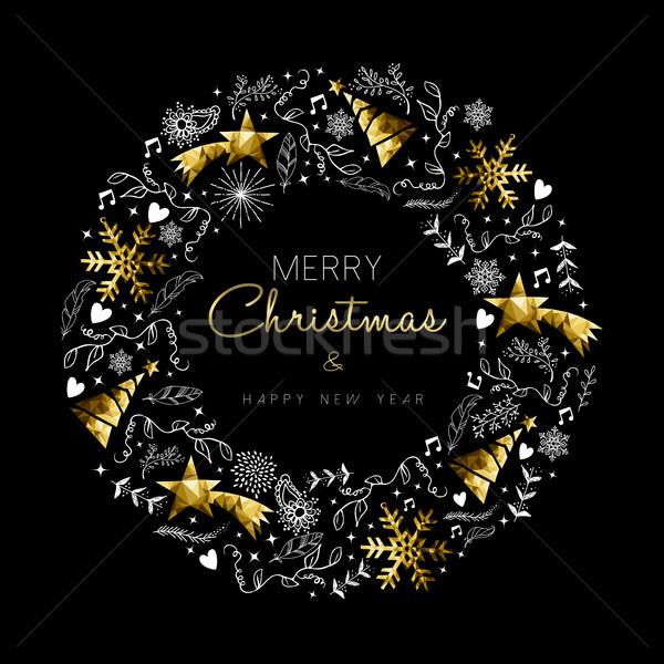 Photo stock: Or · Noël · nouvelle · année · couronne · décoration · joyeux