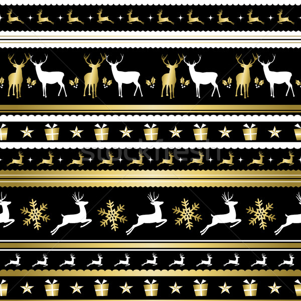 Gold Christmas holiday deer decoration pattern Stock photo © cienpies