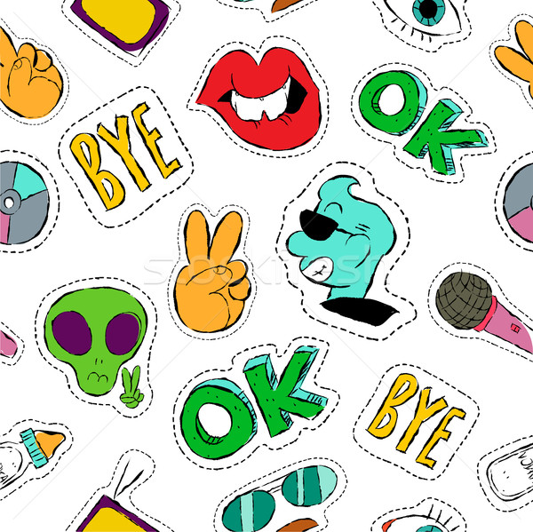 Fun hand drawn patch icon seamless pattern Stock photo © cienpies
