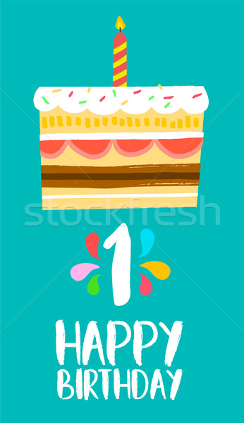 Happy Birthday card for 1 one year fun party cake Stock photo © cienpies