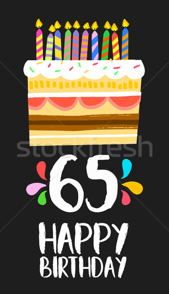 Happy Birthday card 65 sixty five year cake Stock photo © cienpies