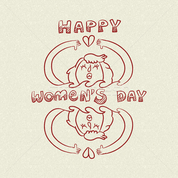 Happy international womens day nature care doodle Stock photo © cienpies