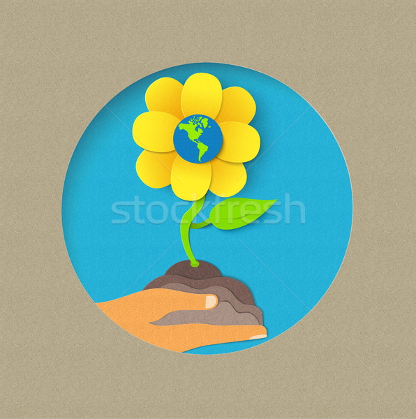 Earth day paper cut flower nature concept Stock photo © cienpies