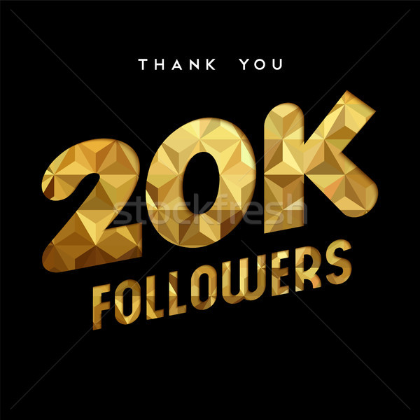 20k gold internet follower number thank you card Stock photo © cienpies
