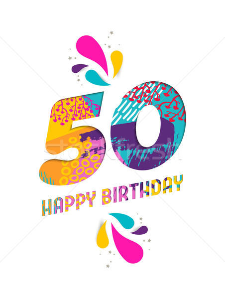 Happy birthday 50 year paper cut greeting card Stock photo © cienpies