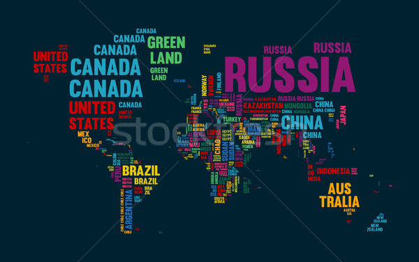 Stock photo: Text world map country name typography design