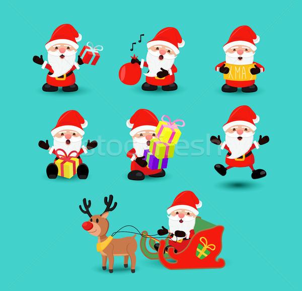 Zdjęcia stock: Christmas · Święty · mikołaj · funny · wakacje · cartoon · zestaw
