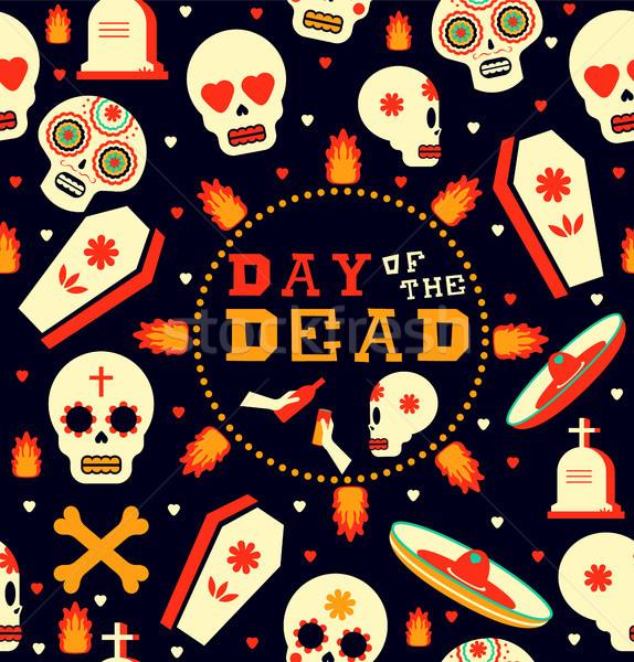 Day of the dead emoji skull seamless pattern art Stock photo © cienpies