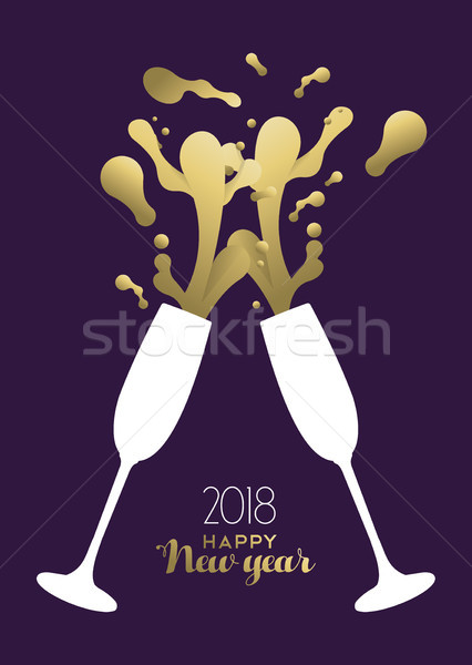 Happy New Year 2018 gold party drink toast splash Stock photo © cienpies
