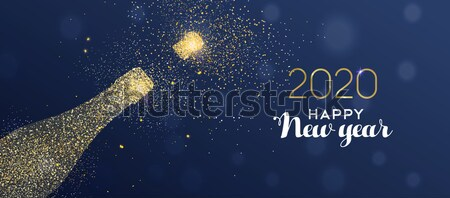 Stock photo: Happy New Year 2018 gold glitter champagne bottle