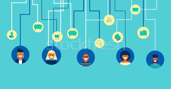 Red social personas equipo arte ilustración Foto stock © cienpies