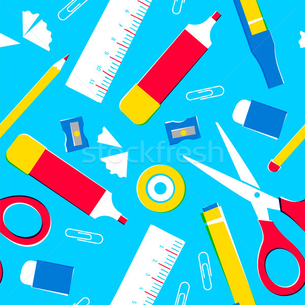 School supplies or office tools seamless pattern Stock photo © cienpies