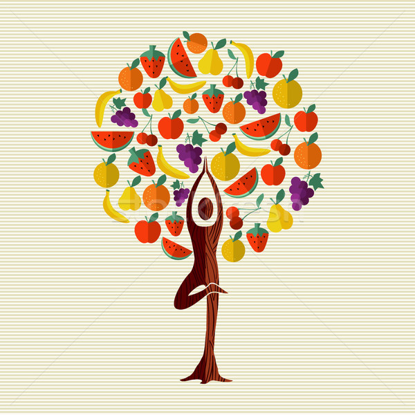 Health and fitness concept tree with fruit food Stock photo © cienpies