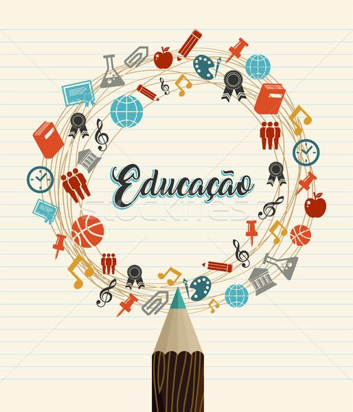 Educação escolas citar linguagem de volta à escola lápis de cor Foto stock © cienpies