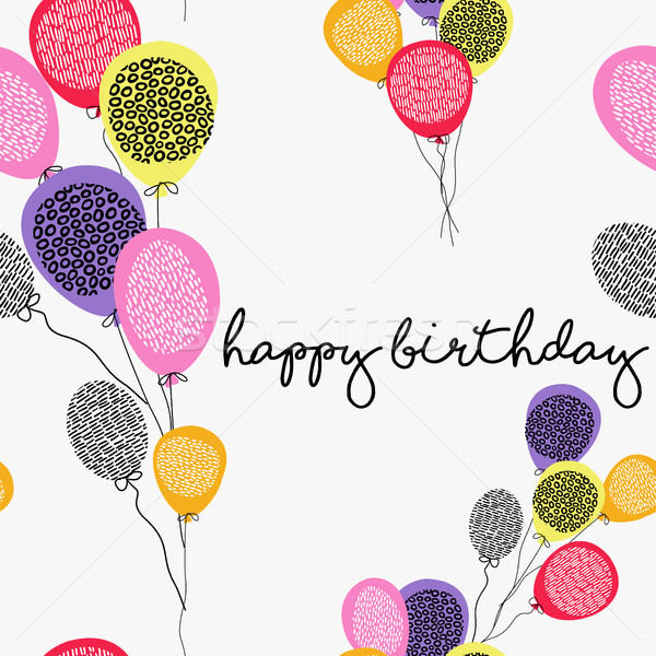 Happy birthday greeting card with party balloons Stock photo © cienpies